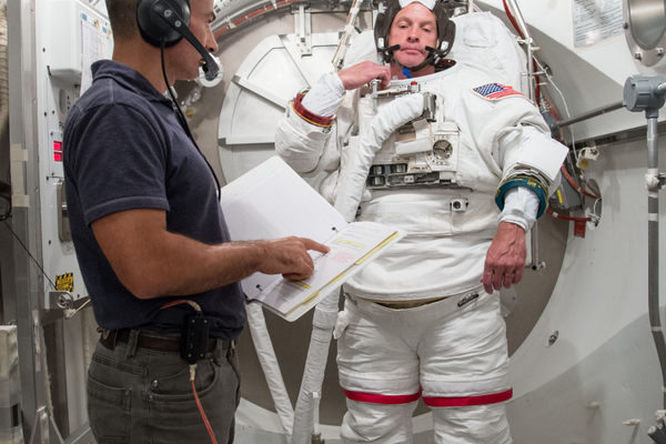 Steve Swanson participates in a spacesuit fit check. (#5)