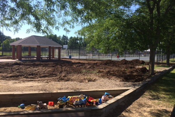 Playground equipment has been removed from Funway Park while renovation work is done.