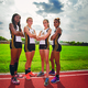 Bordentown Highs 4400 relay team members Aishah Dukes Cait Nitschmann Brianna Pagnani and Shakara Siler won the Burlington County Scholastic League Patriot Division 4400 championship May 10 2014 Photo by Albert Rende
